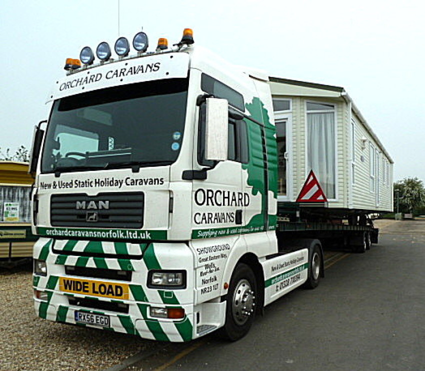 Photo of MAN Articulated vehicle designed to transport large caravans for Orchard Caravans