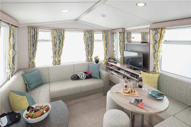 Brochure picture of a 2019 Swift Loire 28 x 10 2 bedroom holiday caravan.
