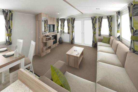 Brochure picture of a 2019 Swift Ardennes 35 x 12 2 bedroom holiday caravan.